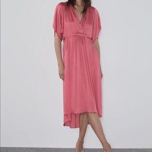 Zara satin effect dress